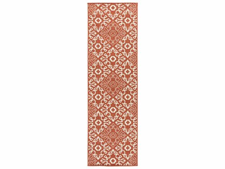 Surya Alfresco Rectangular Rust & Cream Runner Rug