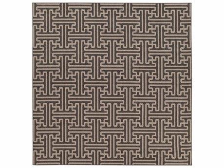 Surya Alfresco Square Black & Camel Area Rug