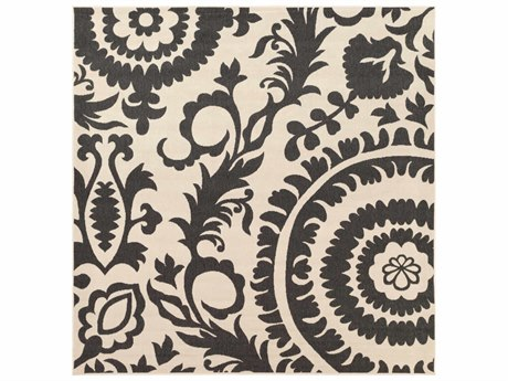 Surya Alfresco Square Black & Khaki Area Rug