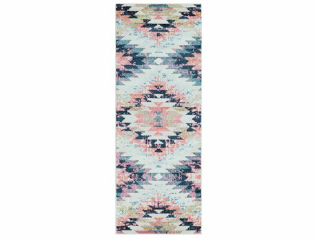 Surya Anika White / Beige Camel Aqua Teal Dark Blue Bright Pink Lime Black Charcoal Runner Area Rug