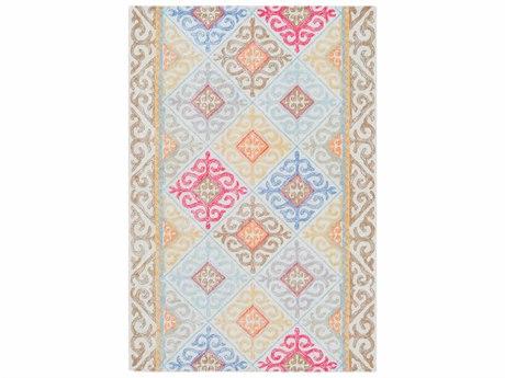 Surya Antigua Sky Blue / Camel Wheat Peach Beige Tan Light Gray Bright Pink Mint Rectangular Area Rug