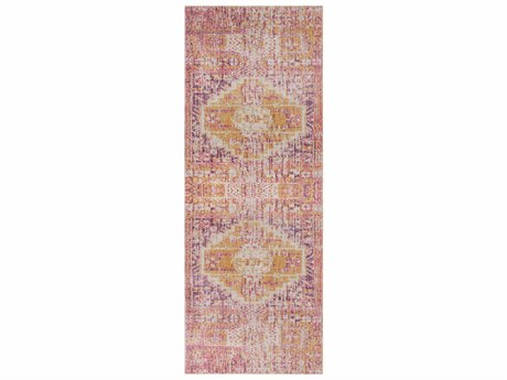 Surya Antioch Bright Pink / Yellow Garnet Lavender White Sea Foam Runner Area Rug