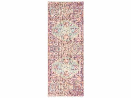 Surya Antioch Garnet / Bright Pink Yellow Sea Foam Saffron White Lavender Runner Area Rug