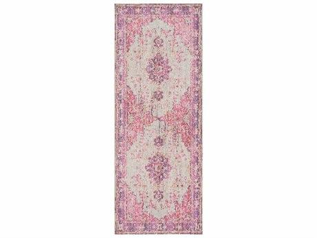 Surya Antioch Bright Pink / Light Gray Lavender Dark Purple Medium Yellow Saffron Runner Area Rug