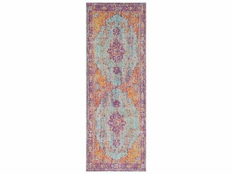 Surya Antioch Lavender / Dark Purple Sea Foam Bright Yellow Saffron White Violet Runner Area Rug