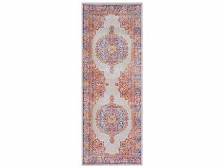 Surya Antioch Bright Pink / Violet White Light Gray Yellow Saffron Lime Runner Area Rug