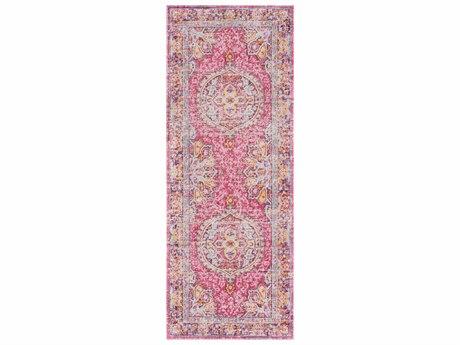 Surya Antioch Bright Pink / Lavender Dark Purple Garnet Sea Foam Yellow Saffron White Runner Area Rug