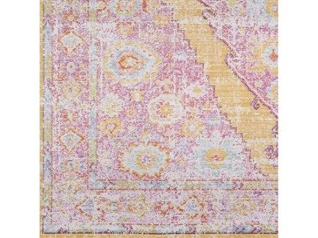 Surya Antioch Bright Pink / Yellow Dark Purple Saffron Sea Foam White Garnet Square Sample