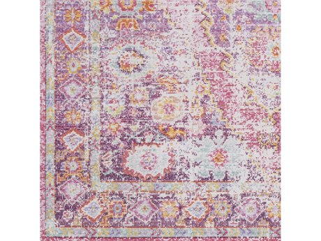 Surya Antioch Bright Pink / Saffron Garnet Lavender Dark Purple Sea Foam White Square Sample