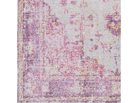 Surya Antioch Bright Pink / Light Gray Lavender Dark Purple Medium Yellow Saffron Square Sample