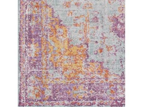 Surya Antioch Lavender / Dark Purple Sea Foam Bright Yellow Saffron White Violet Square Sample
