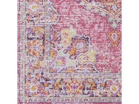 Surya Antioch Bright Pink / Lavender Dark Purple Garnet Sea Foam Yellow Saffron White Square Sample