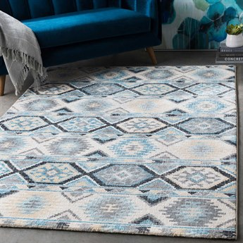 Surya Apricity Sky Blue / Pale Medium Gray Light Butter Cream White Rectangular Area Rug