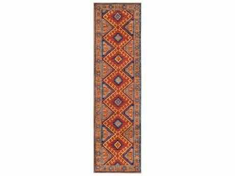Surya Arabia Terracotta / Burnt Orange Bright Lime Navy Teal Camel Runner Area Rug