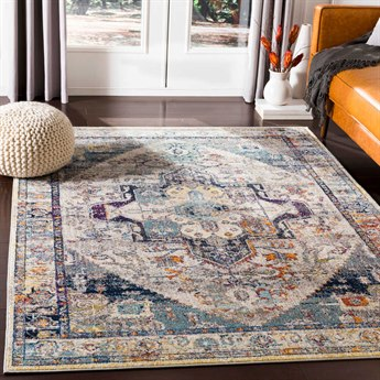 Surya Ararat Dark Blue / Aqua / Charcoal Rectangular Area Rug