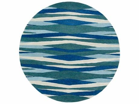 Surya Artist Studio Bright Blue / Teal Aqua Sea Foam Round Area Rug