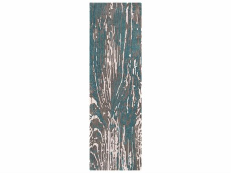 Surya Artist Studio Teal / Dark Brown Black Light Gray Silver Runner Area Rug