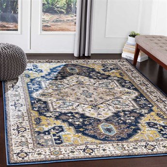 Surya Athens Navy / Charcoal Butter Ivory Camel Sky Blue White Rectangular Area Rug