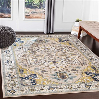 Surya Athens Camel / Navy Ivory Sky Blue Charcoal Butter White Rectangular Area Rug