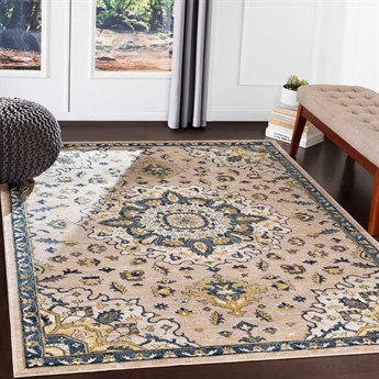 Surya Athens Navy / Butter Ivory Charcoal Sky Blue White Camel Rectangular Area Rug