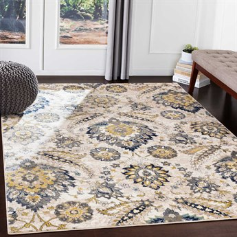 Surya Athens Charcoal / Navy Sky Blue Butter Ivory White Rectangular Area Rug