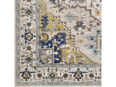 Surya Athens Camel / Navy Ivory Sky Blue Charcoal Butter White Square Sample