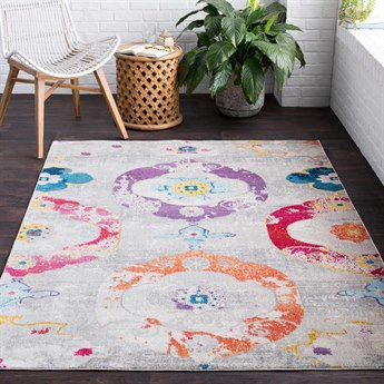 Surya Aura Silk Bright Purple / Beige Medium Gray Sky Blue Yellow Saffron Black Rectangular Area Rug
