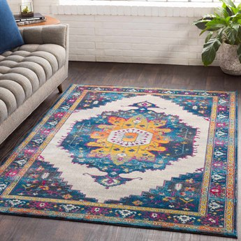 Surya Aura Silk Navy / Bright Blue Sky Rose Saffron Yellow Pink White Medium Gray Charcoal Black Rectangular Area Rug