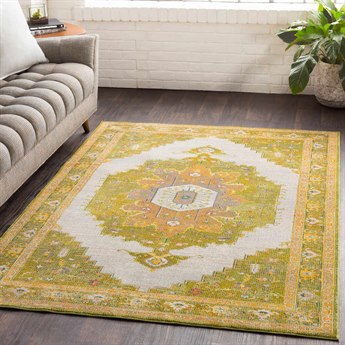 Surya Aura Silk Lime / Dark Green Bright Yellow Saffron Orange Medium Gray Beige Pink Rectangular Area Rug
