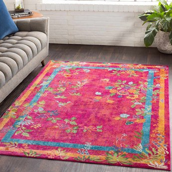 Surya Aura Silk Bright Pink / Red Rose Yellow Saffron Sky Blue Navy Lime Dark Green White Rectangular Area Rug