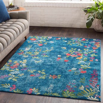 Surya Aura Silk Sky Blue / Bright Navy Pink Rose Red Lime Dark Green White Rectangular Area Rug
