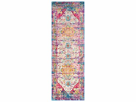 Surya Aura Silk Rose / Bright Pink Navy Sky Blue Yellow Saffron Beige Medium Gray Dark Green Lime Runner Area Rug
