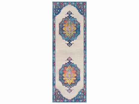 Surya Aura Silk Navy / Bright Blue Sky Rose Saffron Yellow Pink White Medium Gray Charcoal Black Runner Area Rug