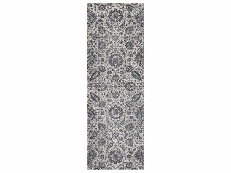 Surya Aura Silk Medium Gray / Charcoal White Black Runner Area Rug