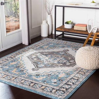 Surya Azul Aqua / White Black Mustard Medium Gray Beige Rectangular Area Rug