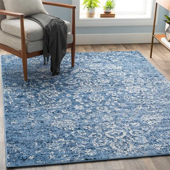 Surya Bahar Bright Blue / Navy Beige Taupe Rectangular Area Rug