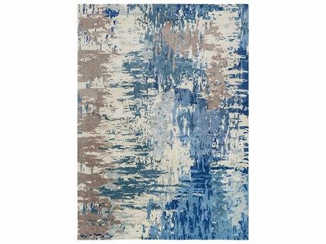 Surya Banshee Rectangular Dark Blue, Bright Blue & Cream Area Rug
