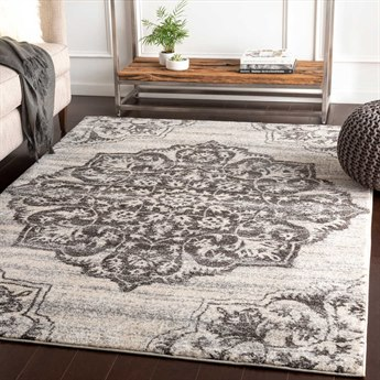 Surya Baylee Black / Medium Gray Silver Cream Rectangular Area Rug