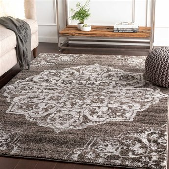 Surya Baylee Medium Gray / Black Silver Cream Rectangular Area Rug