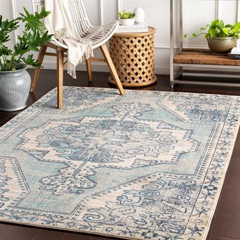 Surya Bohemian Teal / Navy Charcoal Beige Taupe Medium Gray Rectangular Area Rug SYBOM2301REC