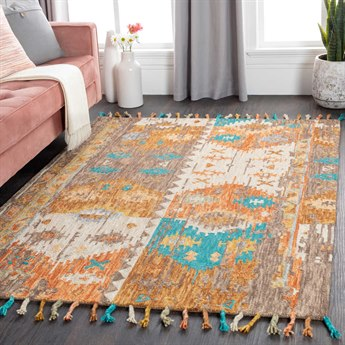 Surya Bonifate Burnt Orange / Saffron / Teal Rectangular Area Rug