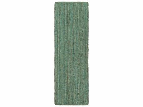 Surya Brice 2'6'' x 8' Rectangular Mint, Dark Brown & White Runner Rug