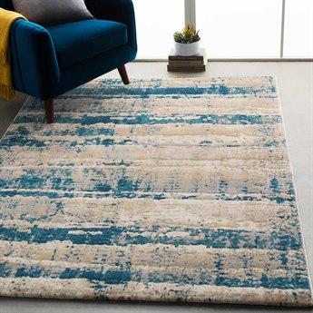 Surya Cash Teal / Navy Saffron Pale Blue Medium Gray Khaki Beige Rectangular Area Rug