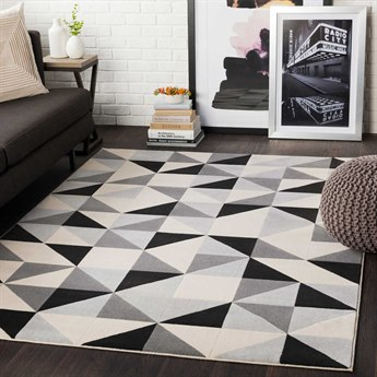 Surya City Black / Beige / Light Gray / Taupe Rectangular Area Rug