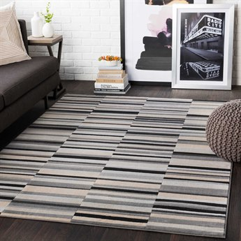 Surya City Light Gray / Beige / Black Rectangular Area Rug