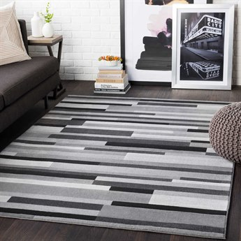 Surya City Light Gray / Taupe / Black Rectangular Area Rug