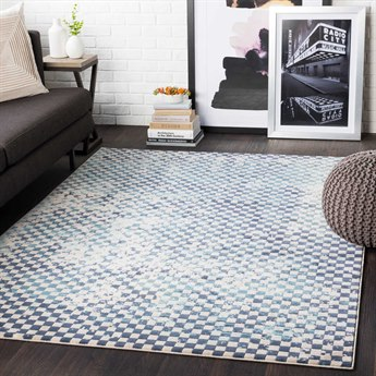 Surya City Aqua / Charcoal / Beige Rectangular Area Rug