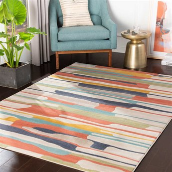 Surya City Coral / Charcoal / Aqua / Mustard Rectangular Area Rug