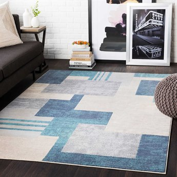 Surya City Aqua / Charcoal / Light Gray Rectangular Area Rug