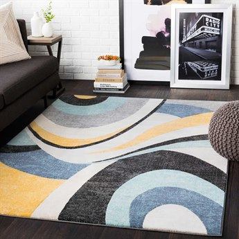 Surya City Aqua / Mustard / Black Rectangular Area Rug